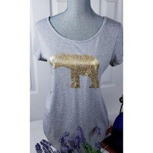 Soft Short Sleeve Gray Gold Elephant T-shirt